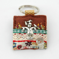keyring - scarecrow keyring - gift for gardeners