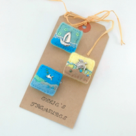 brooch set - beach theme - sea life brooches - seaside