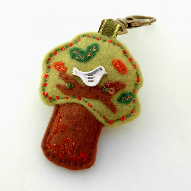 felt tree bag charm - bird in a tree
