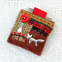 sewn fox pin brooch - brown red textile jewellery - woodland fox gifts