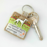 greyhound keyring - greyhound - keyring - greyhound racing gift