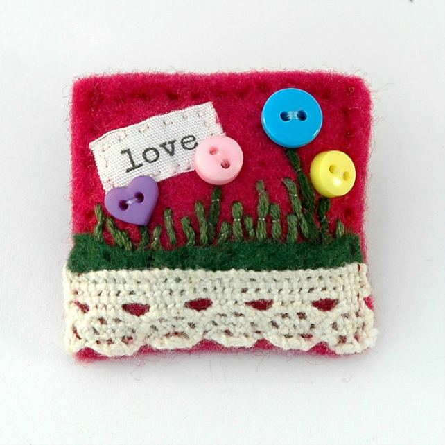 Brooch - love - flower brooch - Valentine gift - button brooch