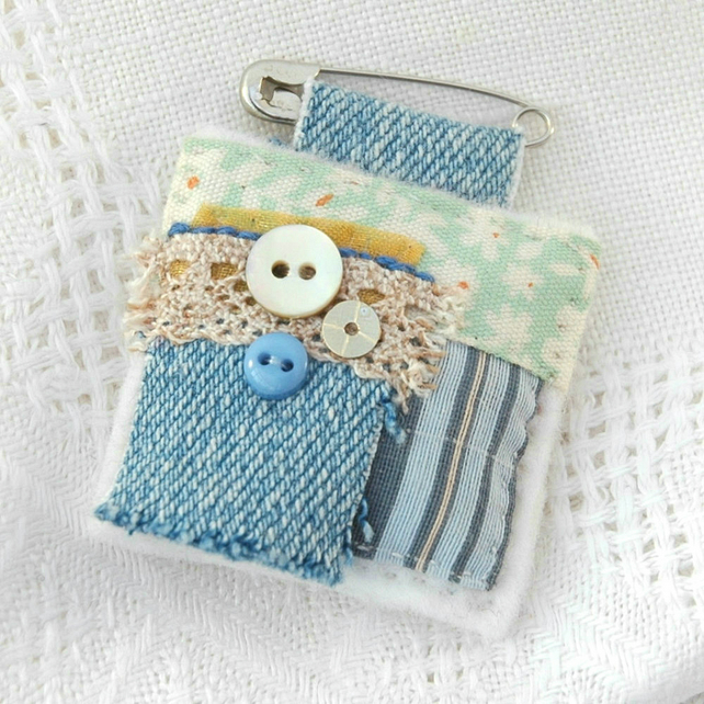 boho brooch - textile brooch - denim pin - brooch