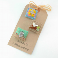 brooches - mini brooch set - nature lover gift - Easter gift