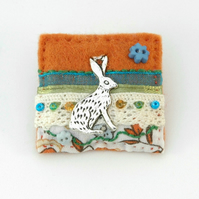 brooch - Easter - hare brooch - hares