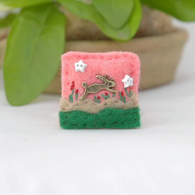 brooch - rabbit brooch - hare brooch - Easter gift - miniature lapel pin