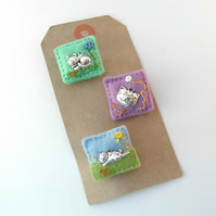 cat brooches - cat lover gift - mini felt badges
