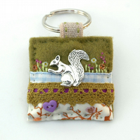 squirrel keyring - woodland animals - hand sewn felt keyring - Mother's Day
