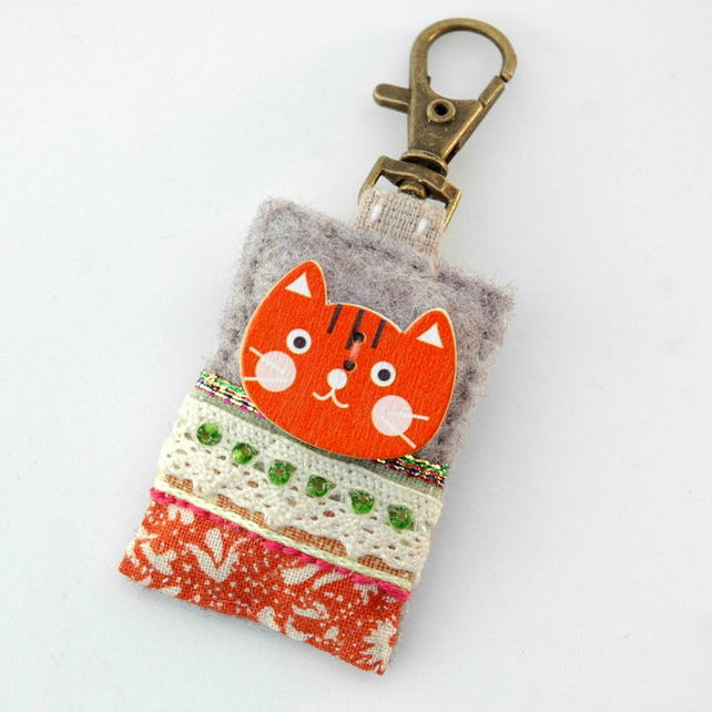 Kawaii cat bag charm - ginger cat gifts - cat lover