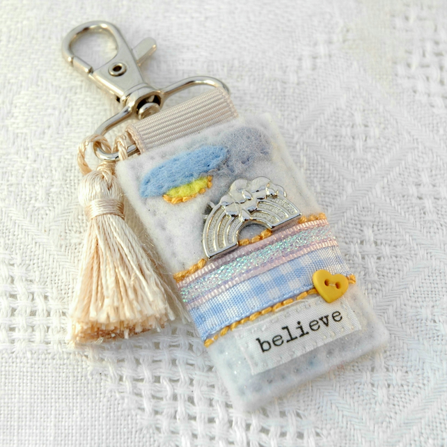 rainbow bag charm - believe - inspirational gifts