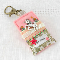unicorn bag charm, hand sewn pink felt unicorn bag clip for girls