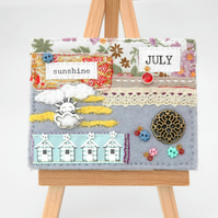 small hand crafted artwork, sewn birthday mixed media canvas, July birthday