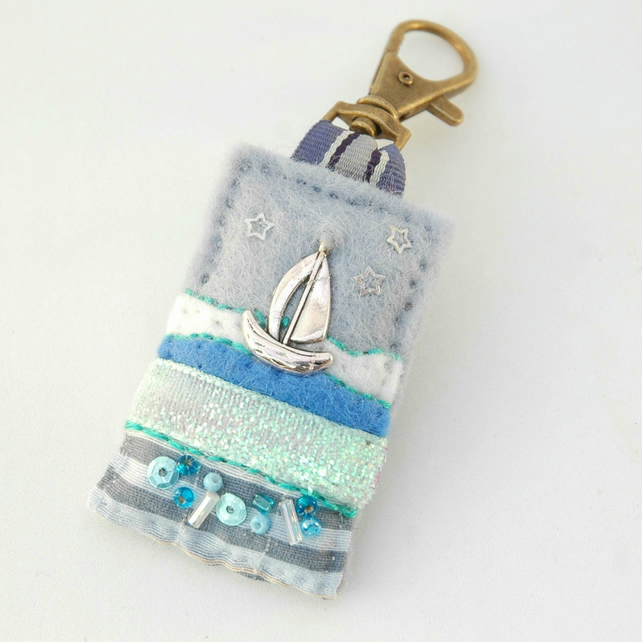 nautical bag charm, sailing boat accessories