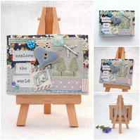 aeroplane textile canvas with easel - explore the world - gift for travellers