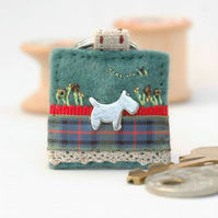 terrier dog keyring - hand sewn decorative felt dog key ring