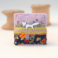 fox brooch, hand sewn textile fox badge, woodland fox jewellery
