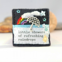 umbrella brooch - rainbow - weather gift - inspirational motivational jewellery