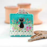 black cat keyring - hand sewn cat key ring - good luck cat gift - cat lovers