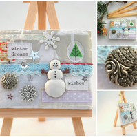 snowman picture with easel - small mixed media artwork - winter gifts