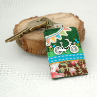 bicycle key clip, cycle bag charm, hand sewn bike journal charm accessory