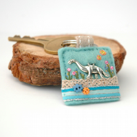 dinosaur keyring hand sewn decorative felt accessory for the palaeontologist