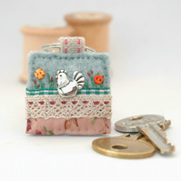 chicken keyring, hand sewn felt hen key ring accessory for chook lovers