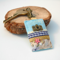 camera bag charm, hand sewn key clip or journal charm for photographers