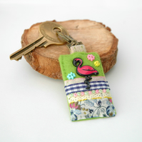 flamingo bag charm, colourful hand sewn pink flamingo key clip journal charm
