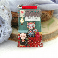 floral cat pin brooch, hand sewn textile broach in Autumn colours
