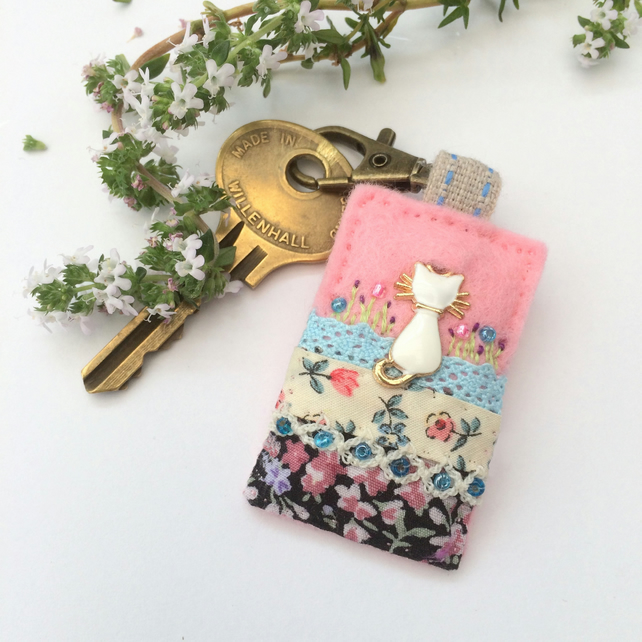 white cat key clip, hand sewn cat bag charm, unique kitty cat planner charm