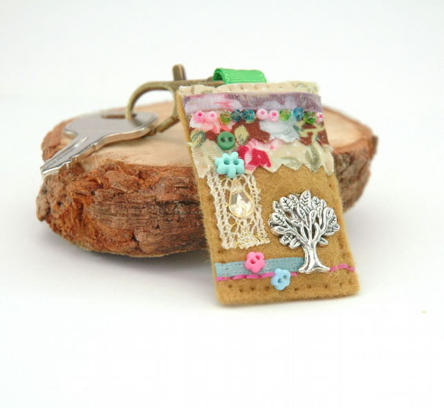 Hand stitched tree bag charm, tree of life key clip, nature journal charm