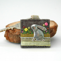 hare keyring, hand stitched textile key ring for countryside lovers