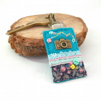 camera key clip bag charm, hand sewn photographer gifts in turquoise felt