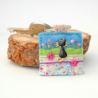 black cat keyring, sewn mixed textile cat accessory, cat lovers good luck gift