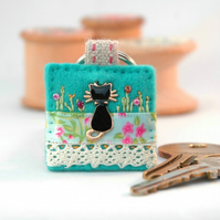 black cat keyring - hand sewn cat key ring - good luck gift - cat lovers