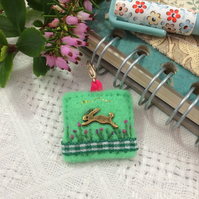 hare journal charm, rabbit planner charm, hand sewn felt charms for notebooks