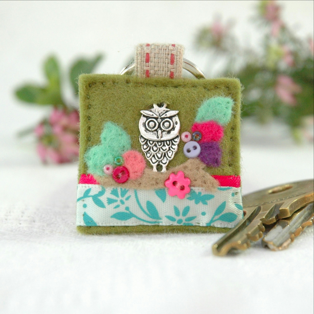 owl keyring, teacher gift, hand sewn felt and charm key ring, bird lover gift