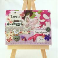 love theme textile sewn picture, fabric art, Valentine gift, Mother's Day