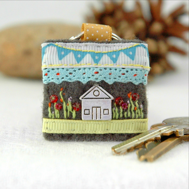 House Keyring Hand Sewn New Home Gift Idea Housewarming Gifts