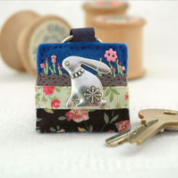 hare keyring, navy blue floral keyring accessories for hare lovers