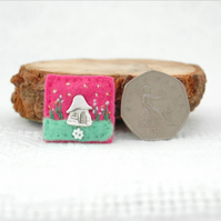 mini fairy house brooch - tiny hand sewn felt brooches