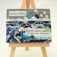 underwater mixed media picture, small textile canvas, fabric artwork, fishes