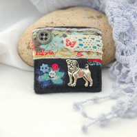 textile pug brooch, hand sewn brooches for dog lovers