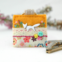 fox keyring, hand sewn bright cheerful gifts, silver fox accessories