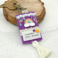 rainbow bag charm, motivational gifts, purple felt key clip, planner charm