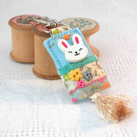 bunny rabbit bag charm with tassel, hand sewn bunny key clip, Kawaii charms