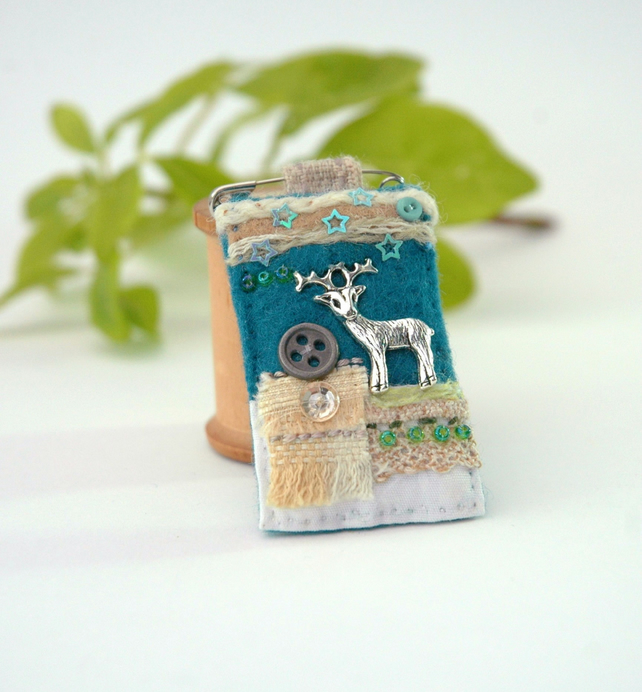 stag pin brooch, mixed media hygge fob brooch in petrol blue and cream