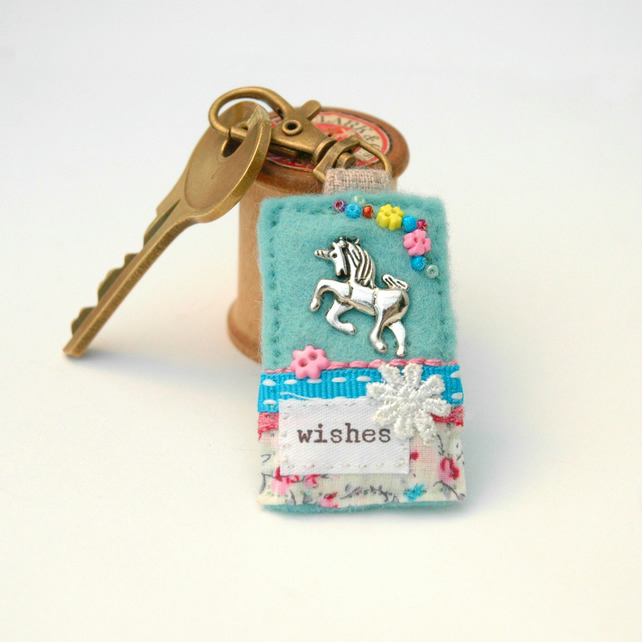 unicorn bag charm, wishes, hand sewn textile bag accessory, unicorn key clip