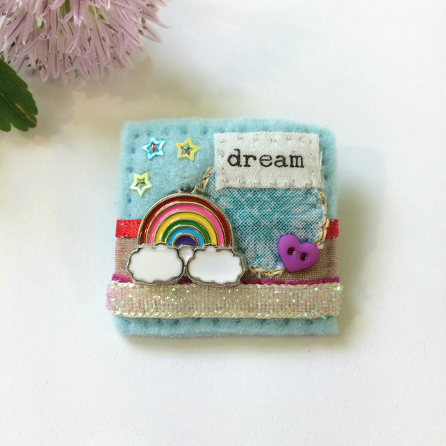 rainbow brooch, rainbow dreams, hand sewn textile brooches