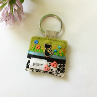 black cat keyring, good luck gift idea, cat accessories